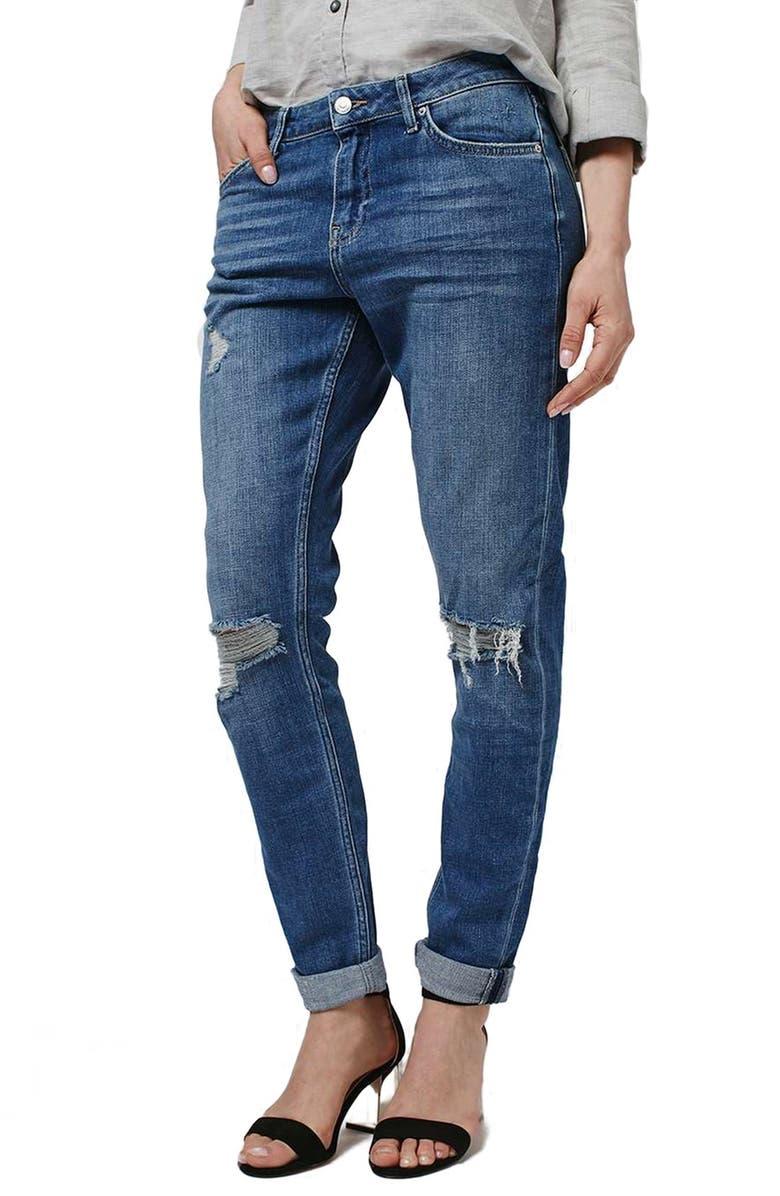 TOPSHOP 'Lucas' Ripped Boyfriend Jeans, Main, color, 400
