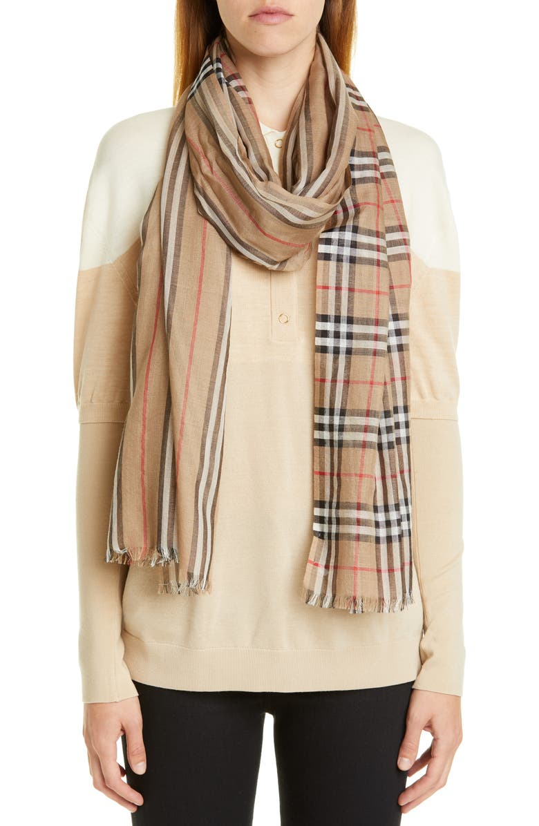 BURBERRY Check to Stripe Wool & Silk Scarf, Main, color, ARCHIVE BEIGE