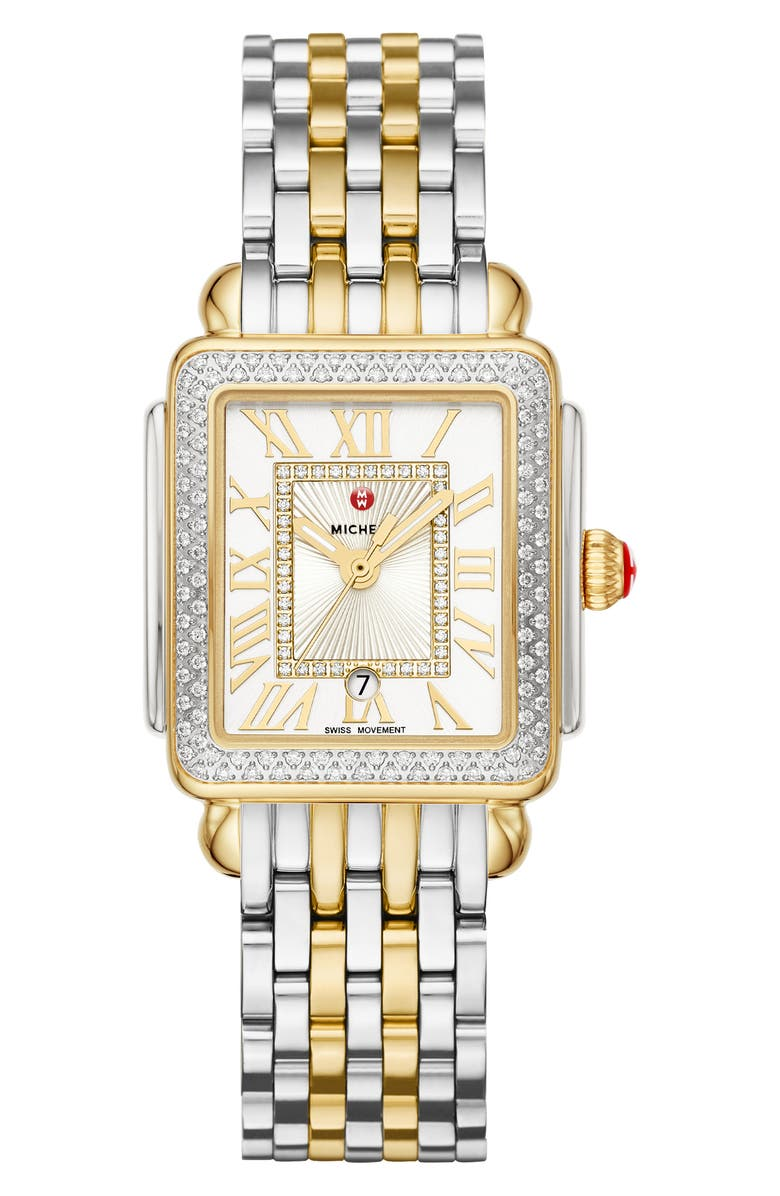 MICHELE Deco Diamond Watch Head & Bracelet, 29mm, Main, color, GOLD/ SILVER