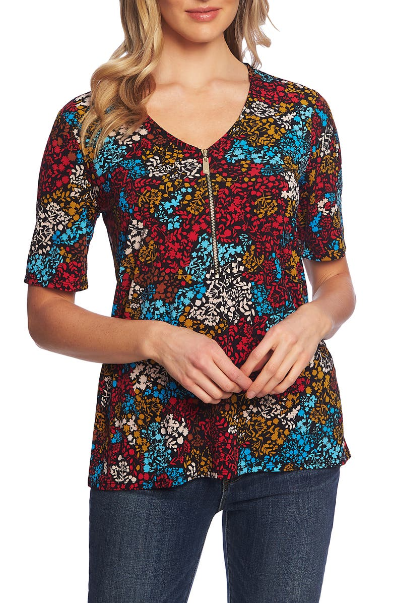 CHAUS Mayan Floral Zip Front Short Sleeve Top, Main, color, RICH BLACK