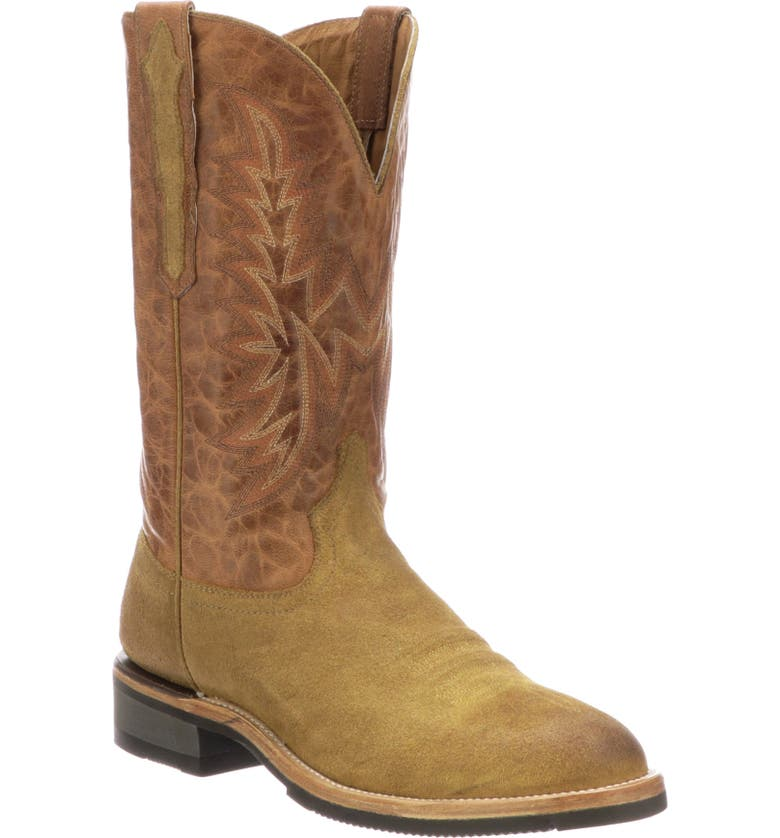 LUCCHESE Rudy Cowboy Boot, Main, color, SAND/ COGNAC