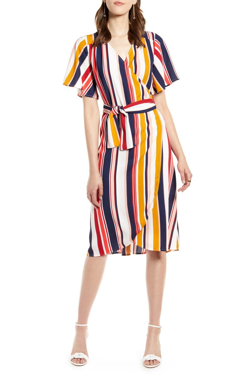 Wrap Dress, Main, color, IVORY- RED MULTI STRIPE