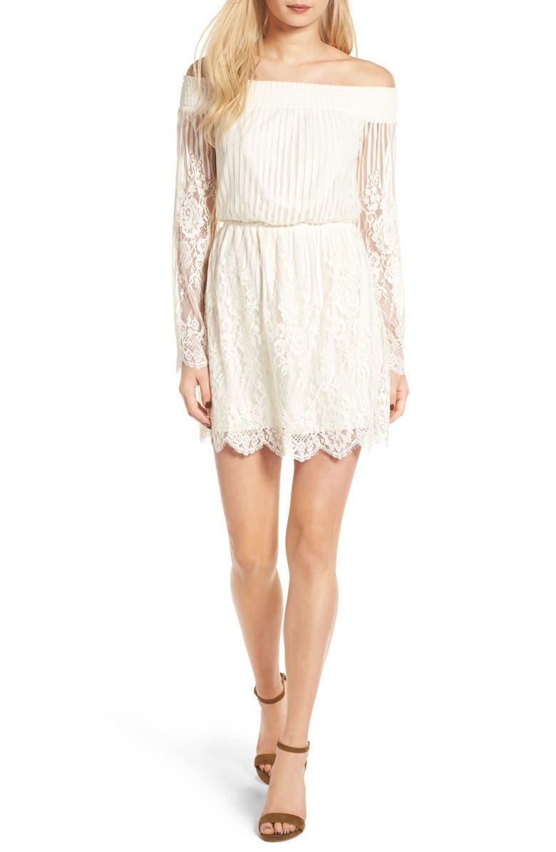 TRIXXI Stripe Lace Off the Shoulder Dress, Main, color, 900