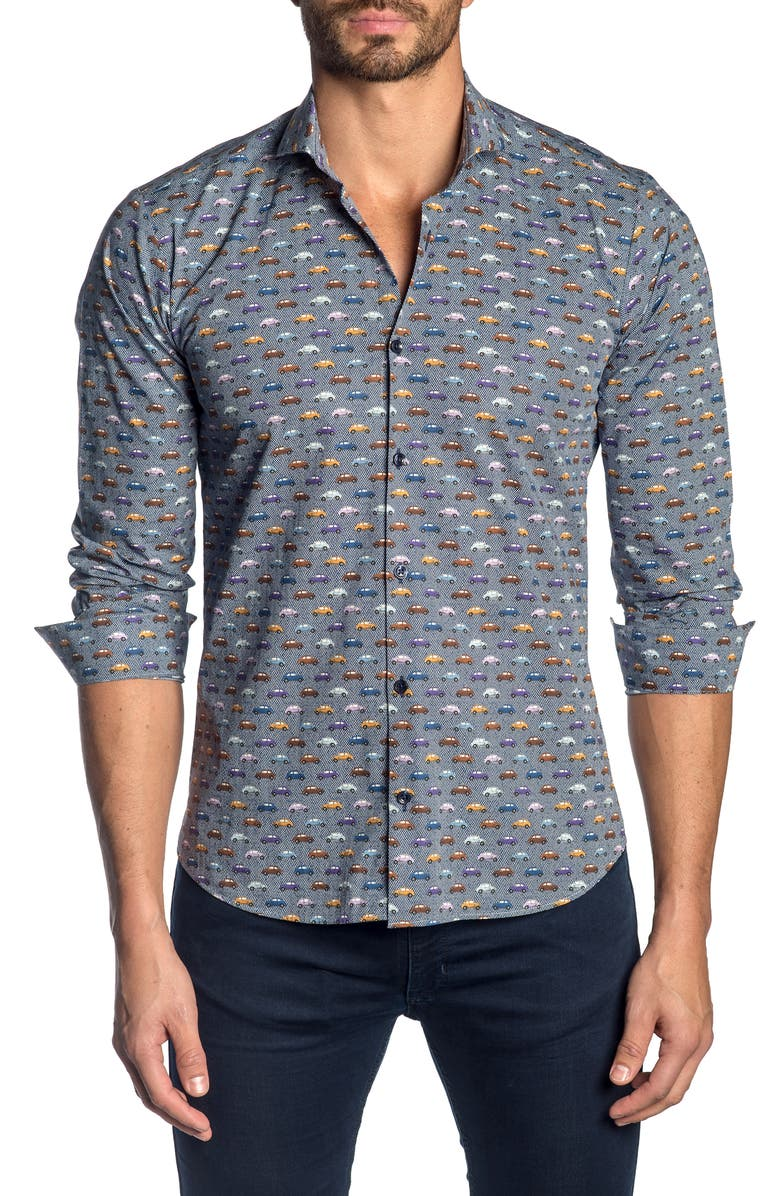 JARED LANG Slim Fit Button-Up Sport Shirt, Main, color, BLUE CARS