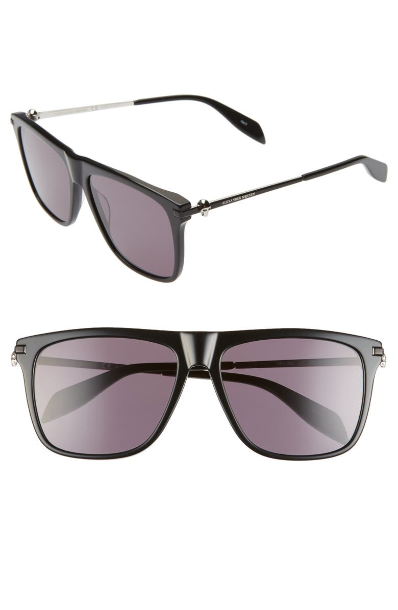 ALEXANDER MCQUEEN 57mm Navigator Sunglasses, Main, color, BLACK