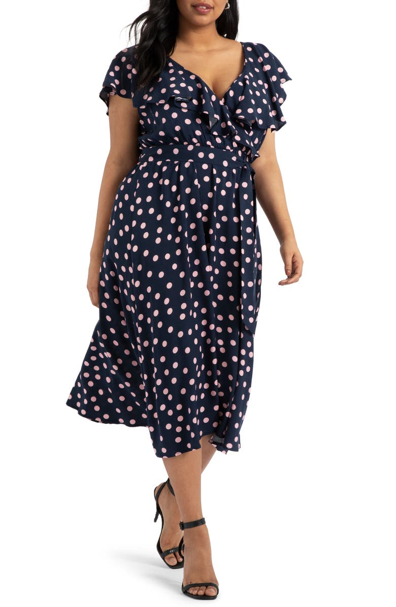 ELOQUII Flounce Bodice Dress, Main, color, DAYDREAM DOT