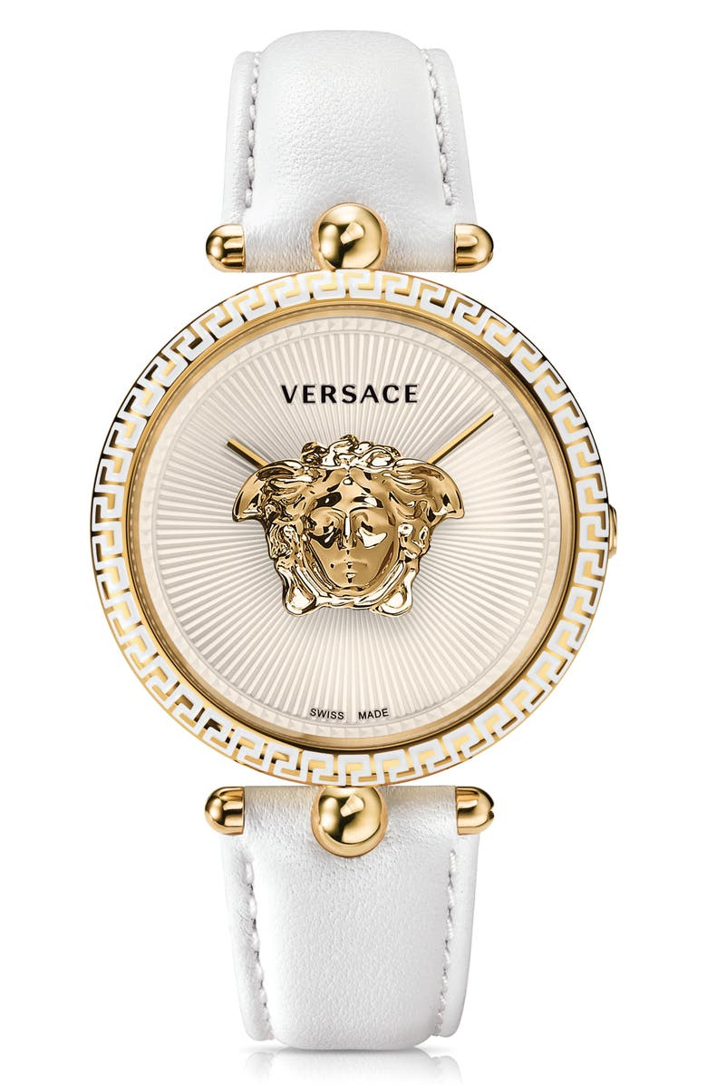 VERSACE Palazzo Empire Leather Strap Watch, 39mm, Main, color, WHITE/ GOLD