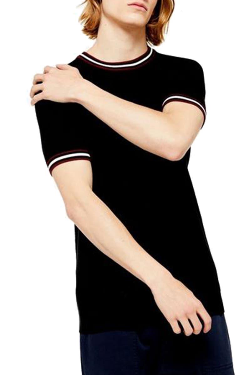 TOPMAN Tipped Piqué T-Shirt, Main, color, 001