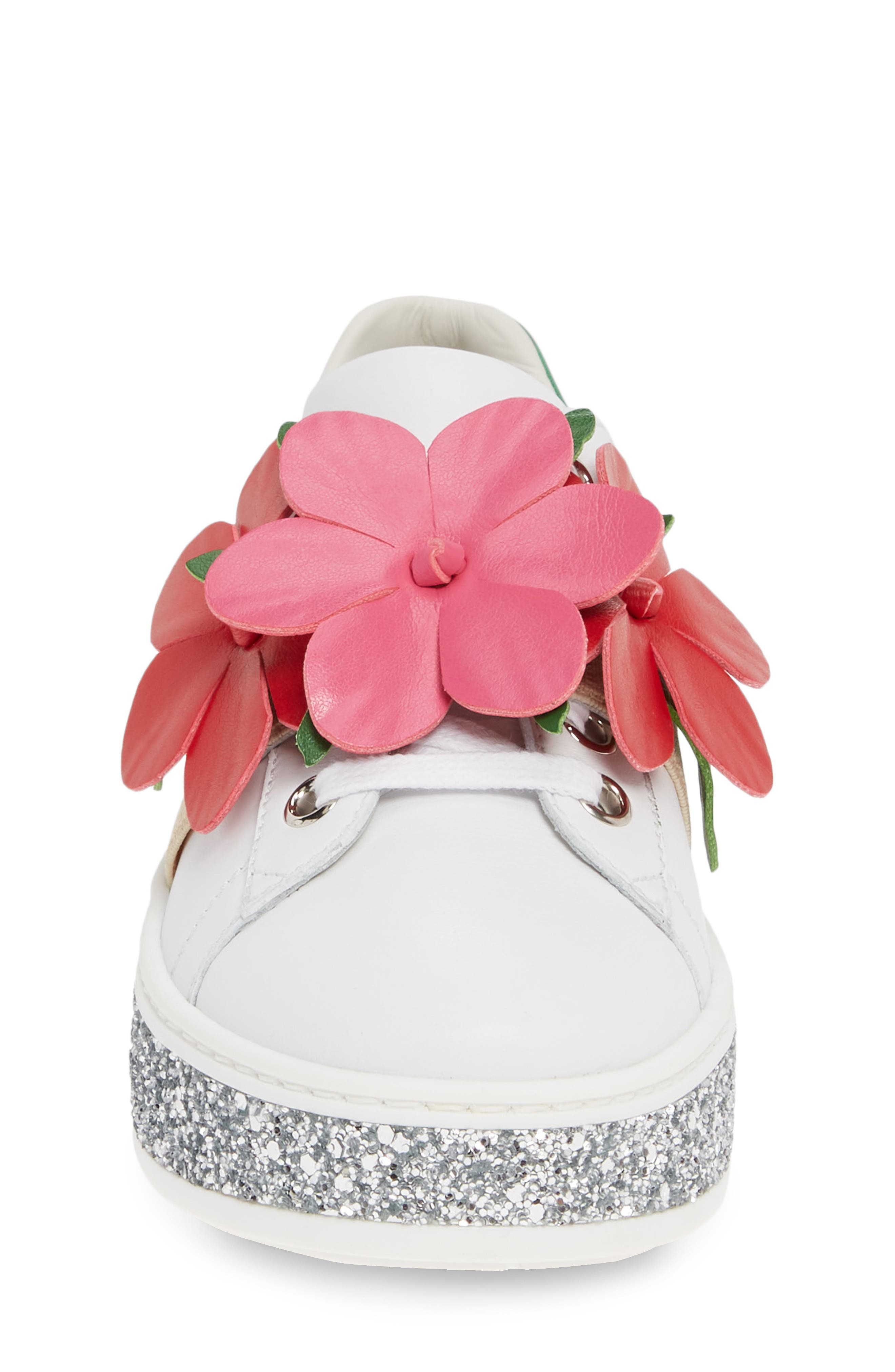 ,                             New Ace Flower Glitter Platform Sneaker,                             Alternate thumbnail 4, color,                             WHITE MULTI
