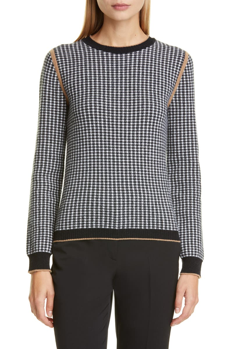 MAX MARA Colle Houndstooth Jacquard Wool & Cashmere Pullover, Main, color, 100