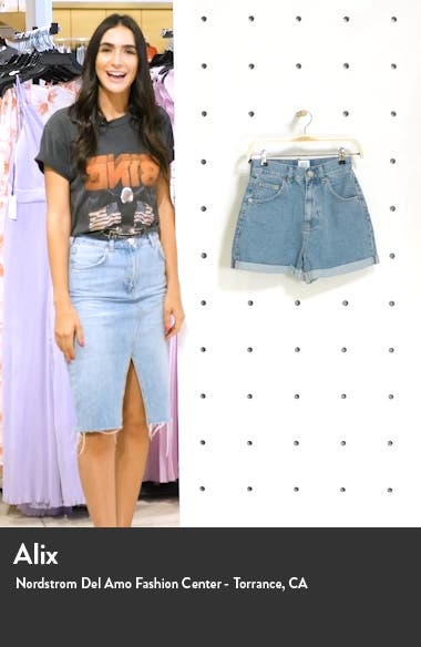 High Waist Cuffed Denim Mom Shorts, sales video thumbnail