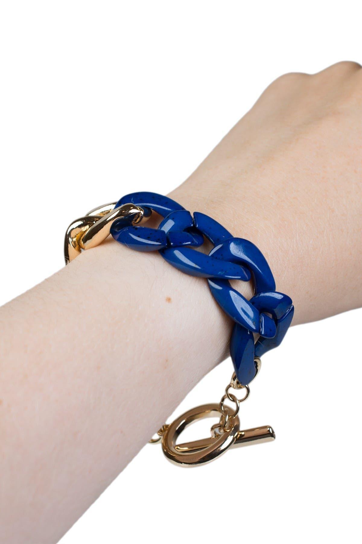 Image of Jardin Curb Chain & Acrylic Link Toggle Bracelet