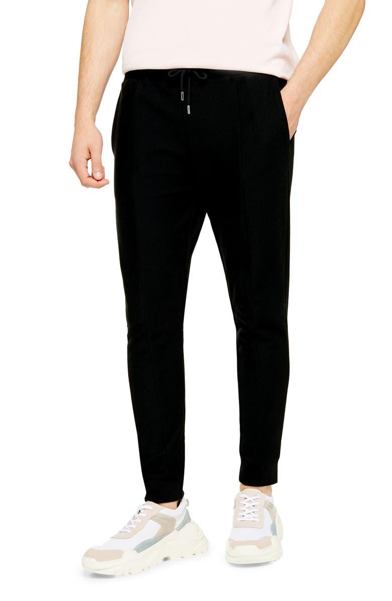 TOPMAN Skinny Fit Pleated Twill Joggers, Main, color, BLACK