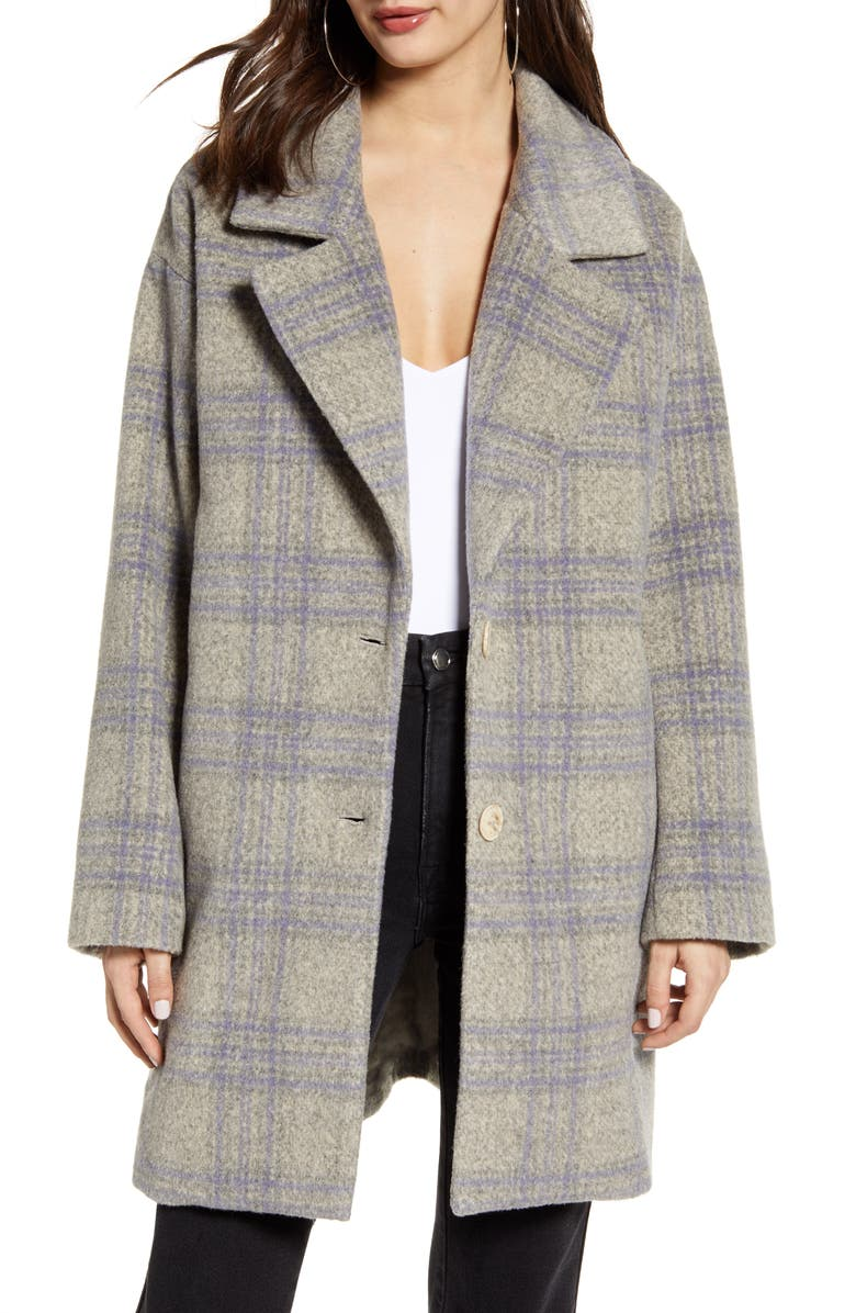 ASTR THE LABEL Plaid Flannel Coat, Main, color, 020