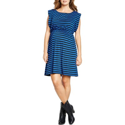 Maternal America Maternity Printed Tunic Dress, Blue
