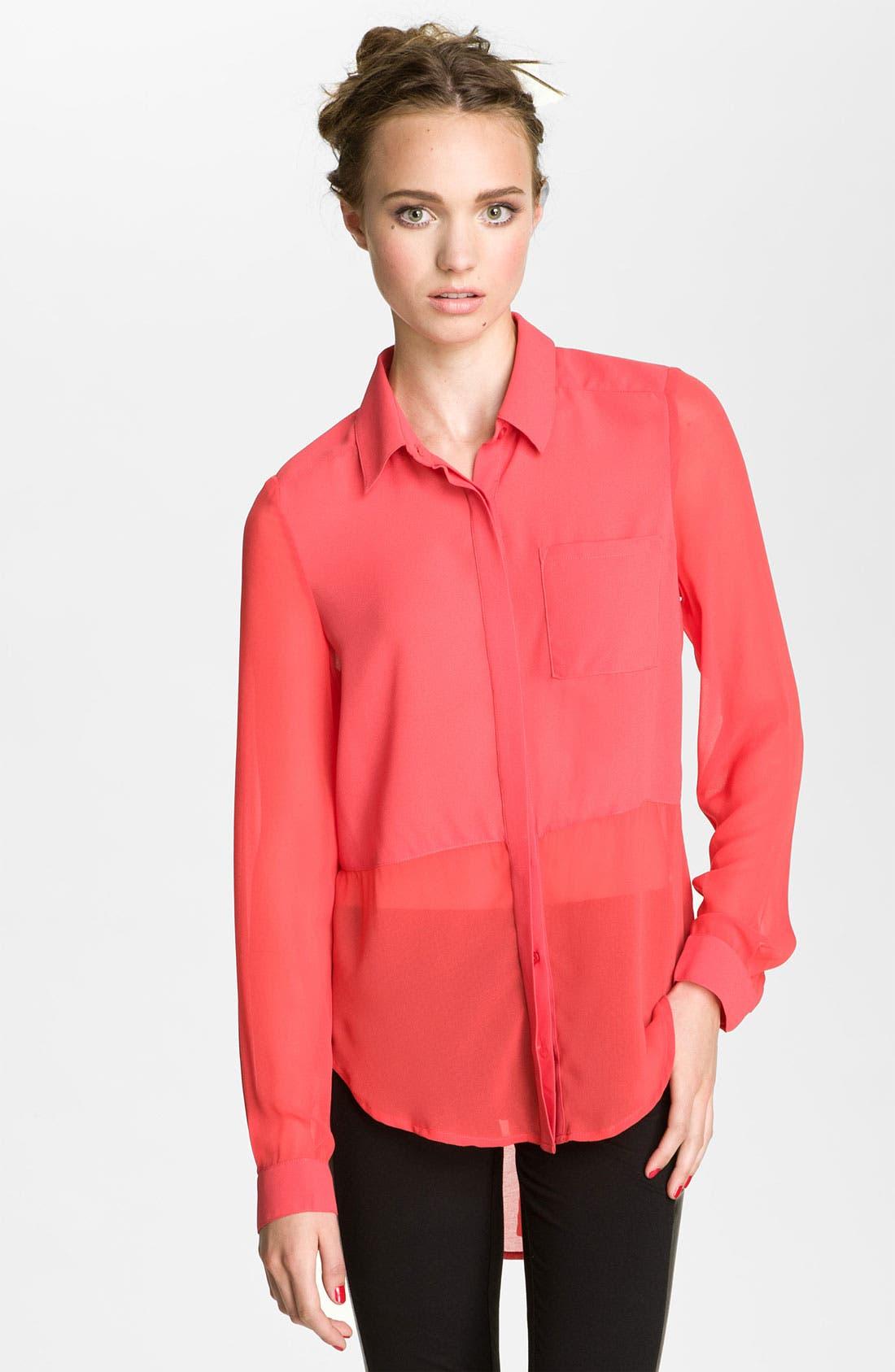 ,                             Lush Sheer Panel High/Low Shirt,                             Main thumbnail 13, color,                             622
