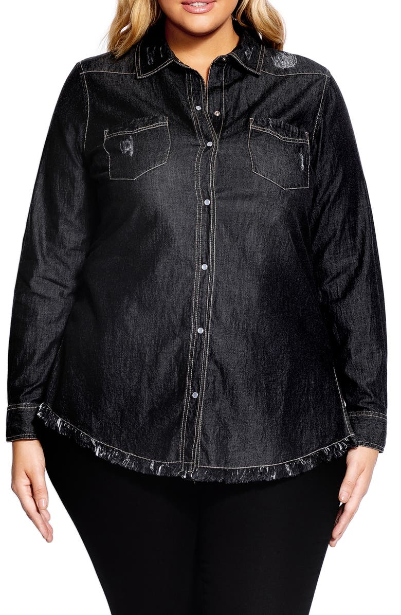 CITY CHIC Distressed Denim Shirt, Main, color, 001