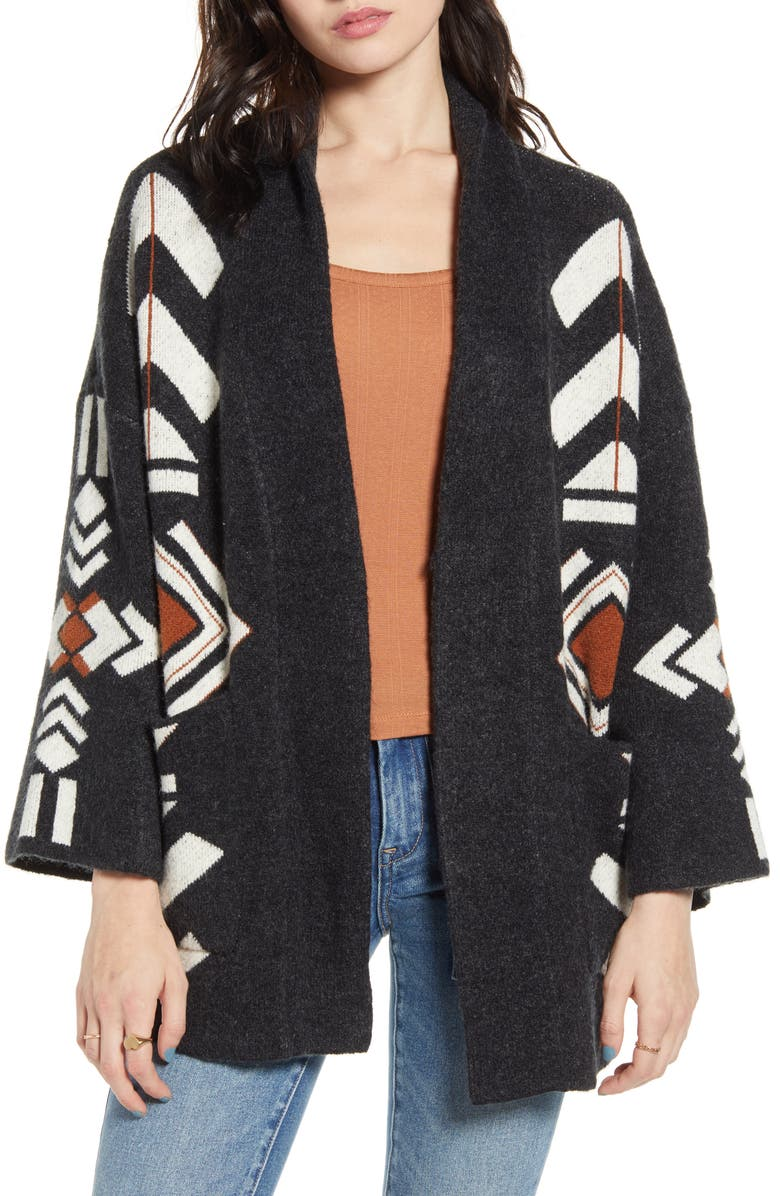 DREAMERS BY DEBUT Geometric Jacquard Cardigan, Main, color, BLACK