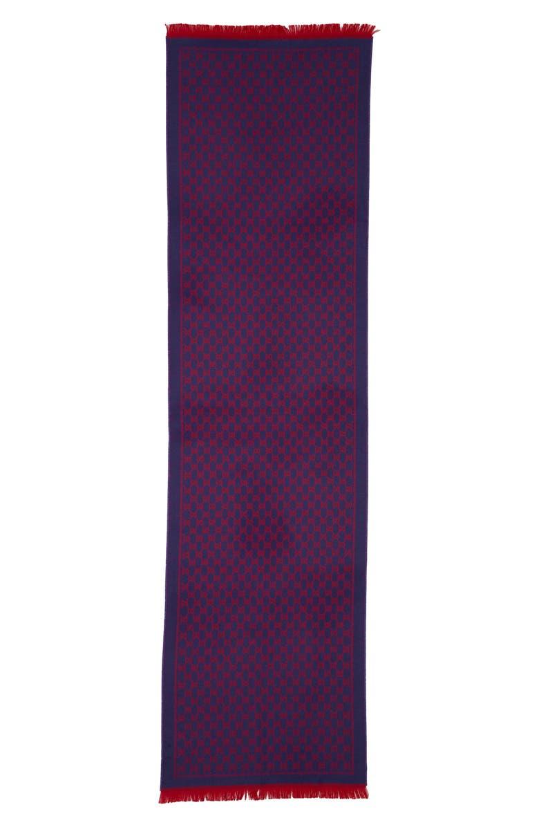 GUCCI GG Jacquard Wool Scarf, Main, color, DARK PURPLE/ RED