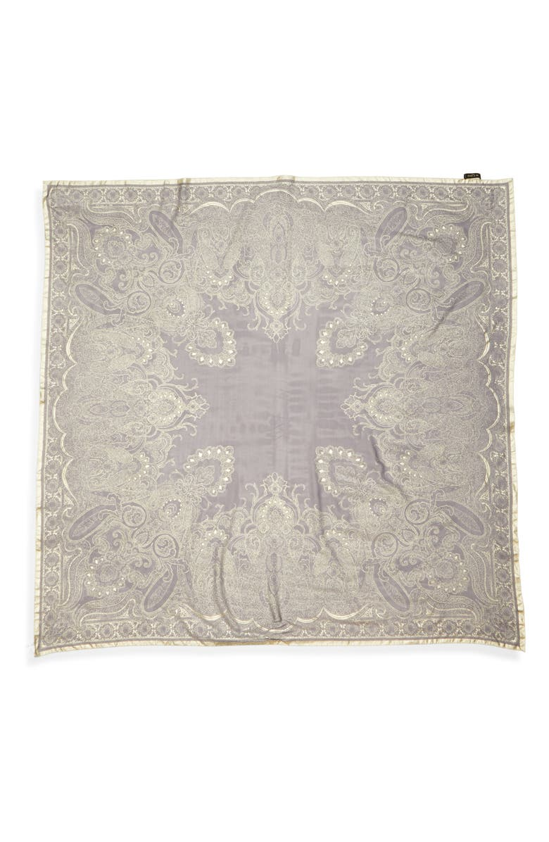 ETRO Scialle Bombay Silk Scarf, Main, color, NAVY
