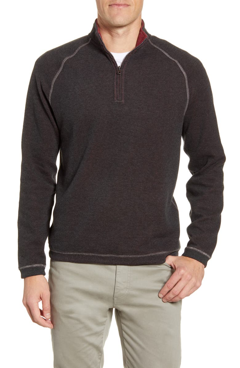 JOHNNIE-O Turner Reversible Quarter Zip Pullover, Main, color, CHARCOAL