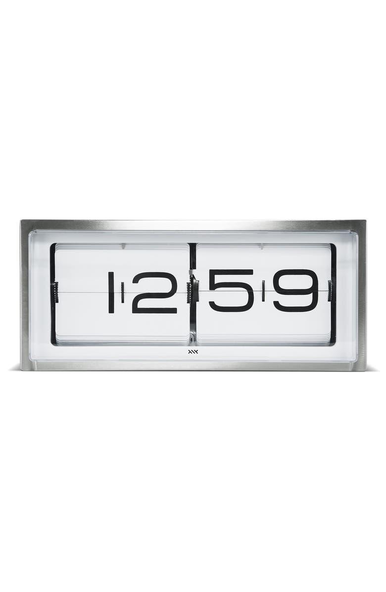 LEFF AMSTERDAM Brick Desk Clock, Main, color, STAINLESS STEEL/ WHITE