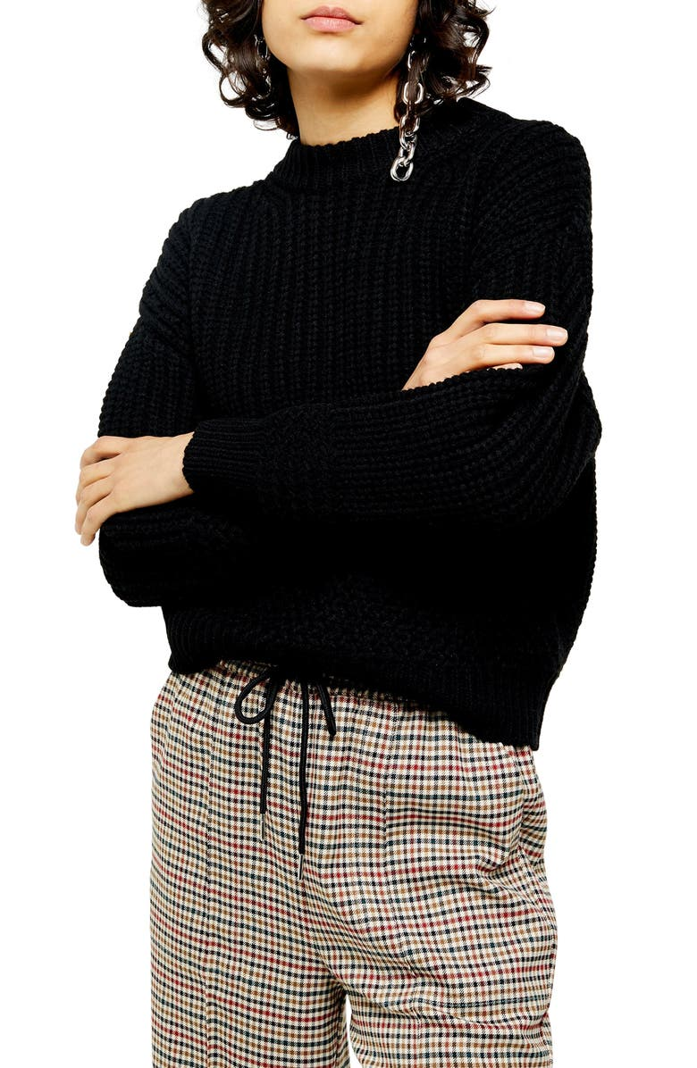 TOPSHOP Pointelle Detail Crewneck Sweater, Main, color, BLACK