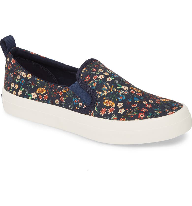 SPERRY Crest Twin Gore Slip-On Sneaker, Main, color, NAVY MULTICOLOR CANVAS