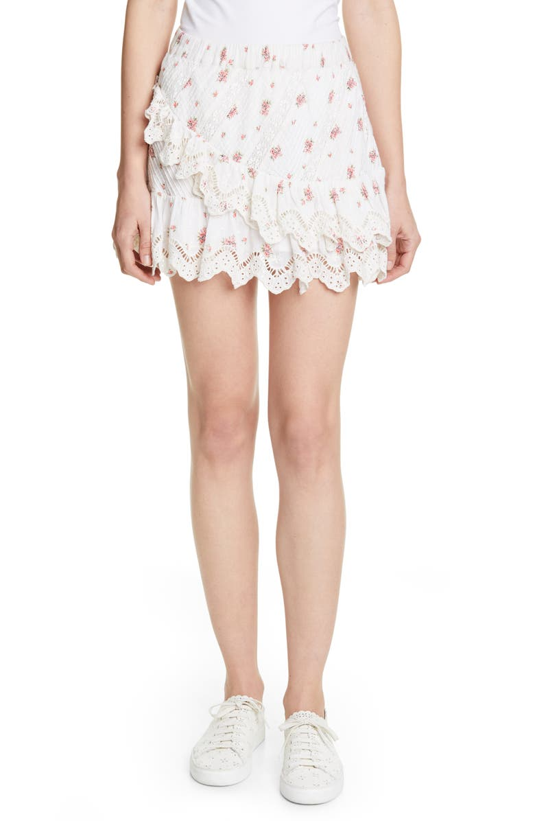 LOVESHACKFANCY Emma Asymmetrical Ruffle Miniskirt, Main, color, FRENCH CREAM