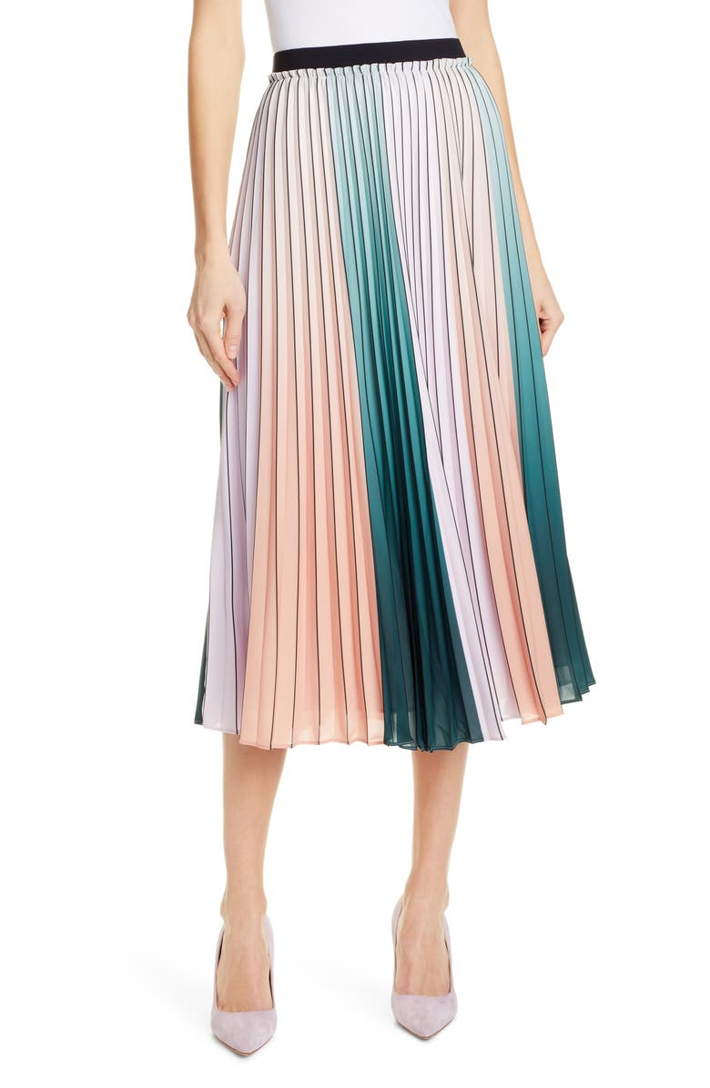 TED BAKER LONDON Selmma Stripe Pleat Midi Skirt, Main, color, 531