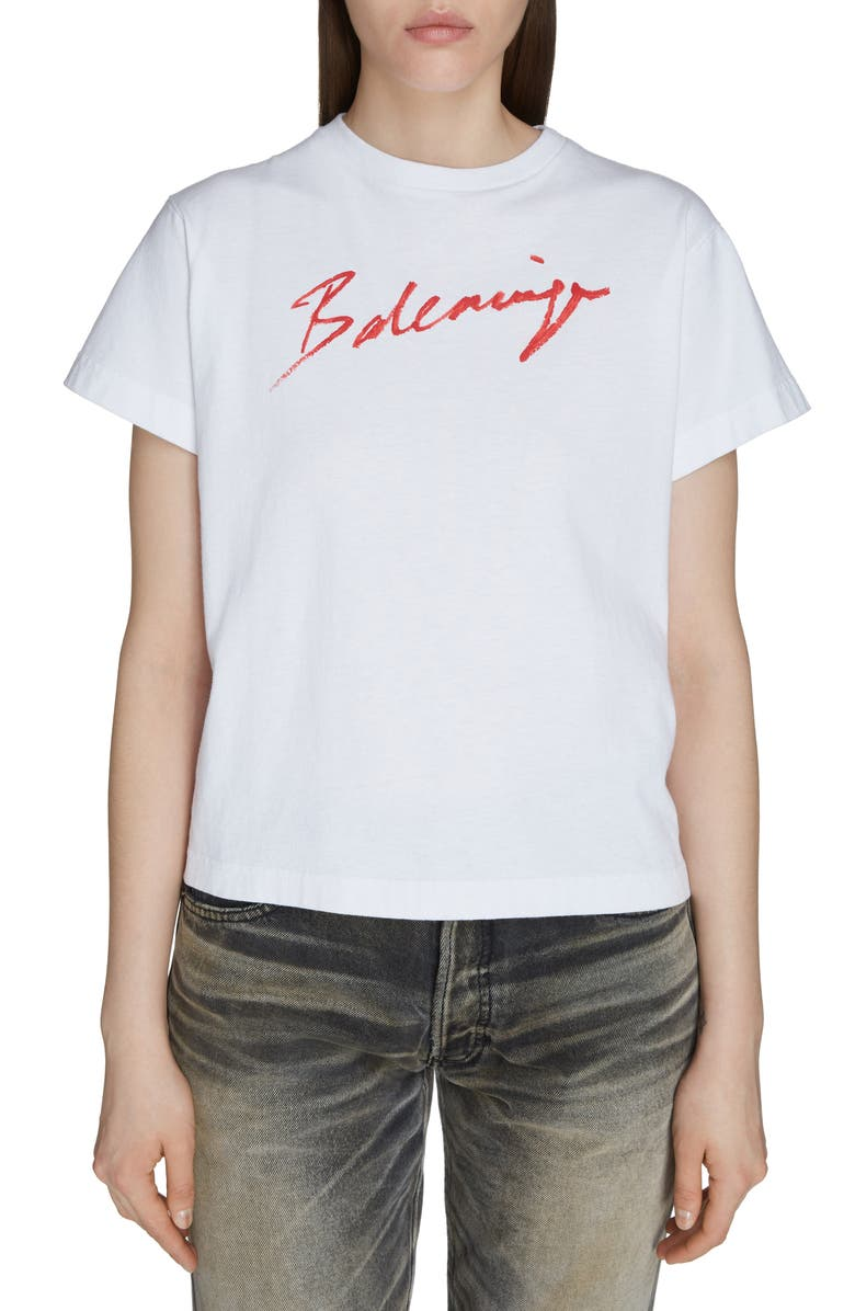 BALENCIAGA Lipstick Logo Tee, Main, color, WHITE/ RED