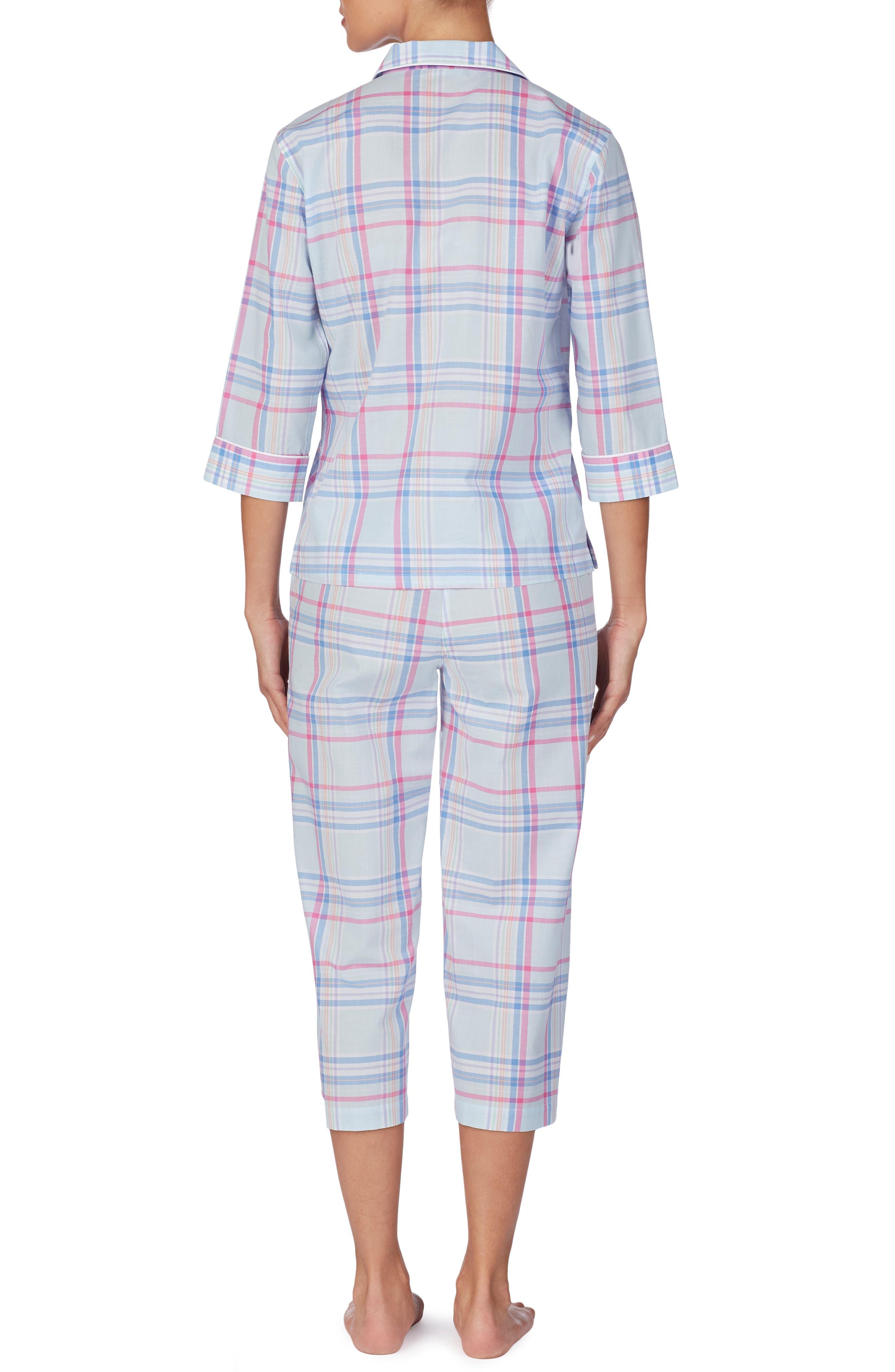 ,                             Capri Pajamas,                             Alternate thumbnail 2, color,                             BLUE PLAID