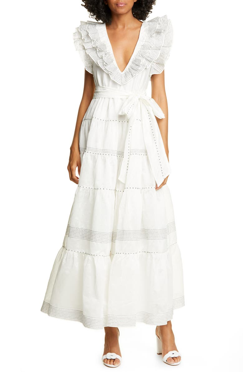 ULLA JOHNSON Embroidered Organza Gown, Main, color, BLANC