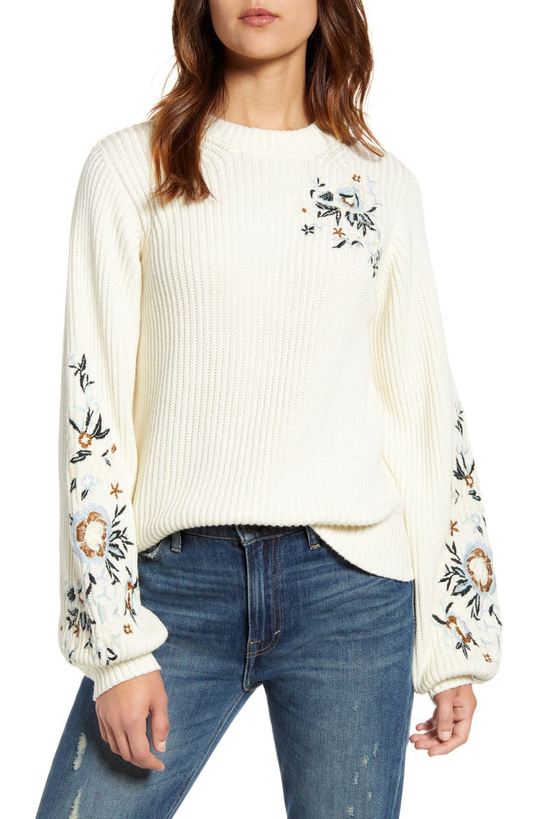 LUCKY BRAND Embroidered Sleeve Rib Sweater, Main, color, SNOW WHITE