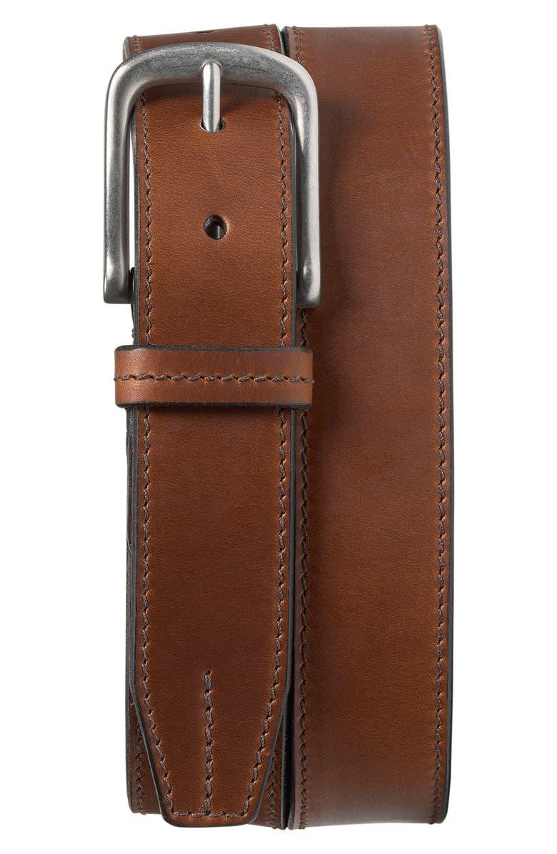 TRASK Leather Belt, Main, color, BRANDY