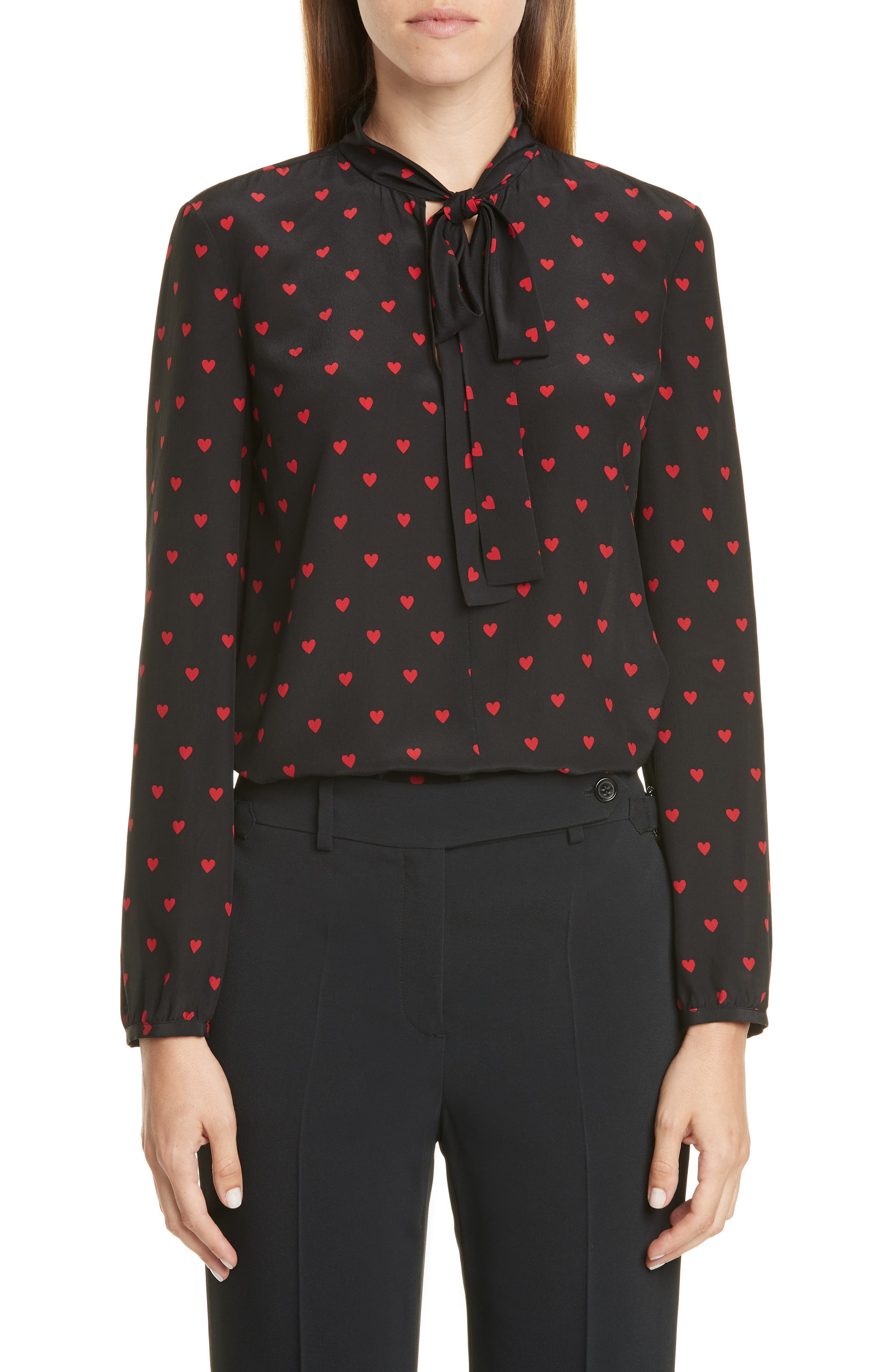 Red Valentino Tops Heart Print Tie Neck Silk Top