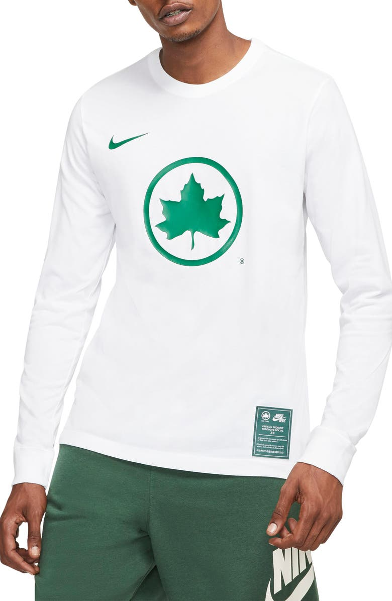 NIKE Sportswear NYC Parks Long Sleeve T-Shirt, Main, color, WHITE/ ACTION GREEN
