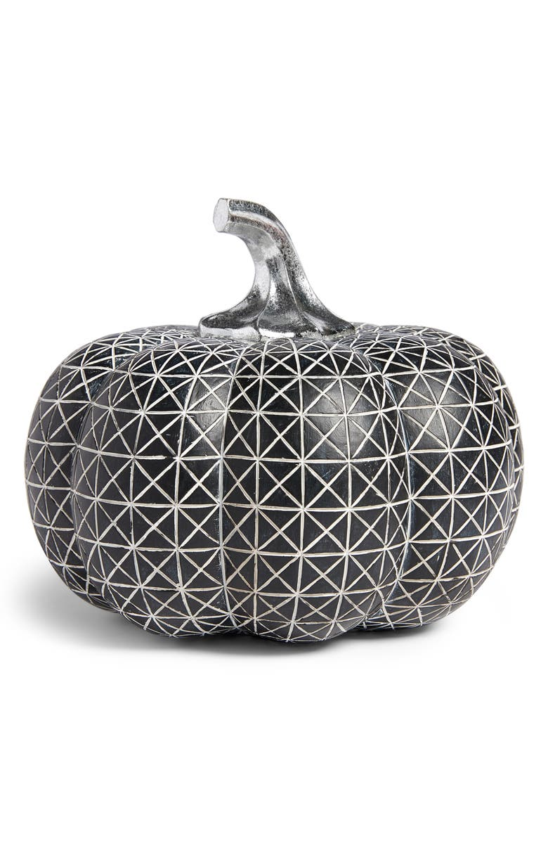 ALLSTATE Geo Design Decorative Pumpkin, Main, color, BLACK SILVER
