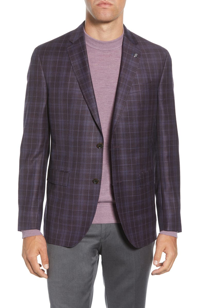 TED BAKER LONDON Konan Trim Fit Plaid Wool Sport Coat, Main, color, BERRY