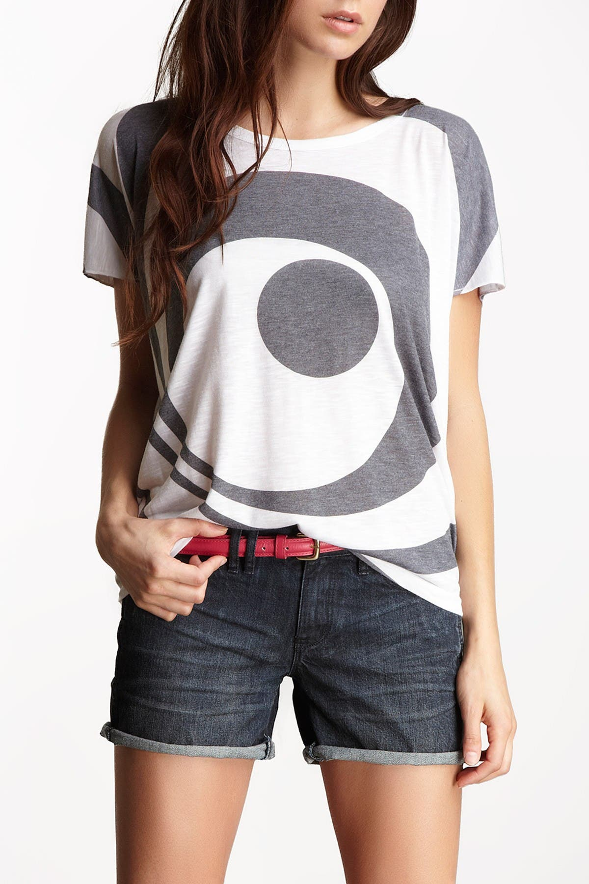 Image of Go Couture Boatneck Printed T-Shirt