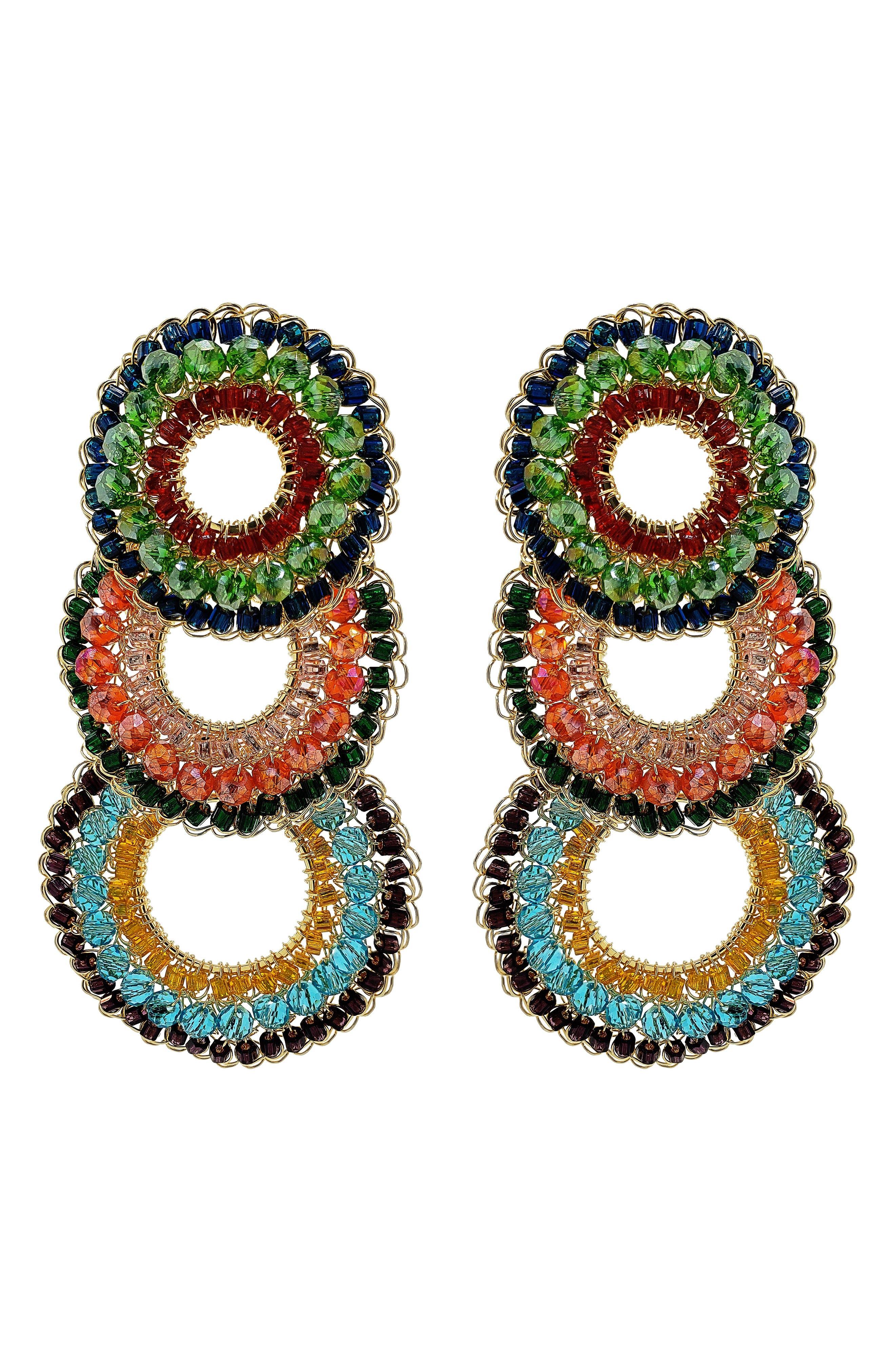 Cascade Frontal Hoop Drop Earrings