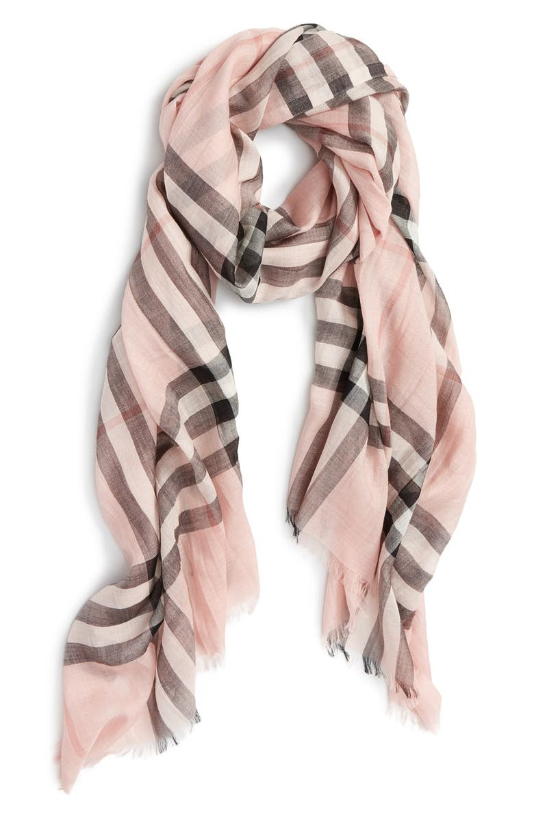 BURBERRY Giant Check Print Wool & Silk Scarf, Main, color, ASH ROSE