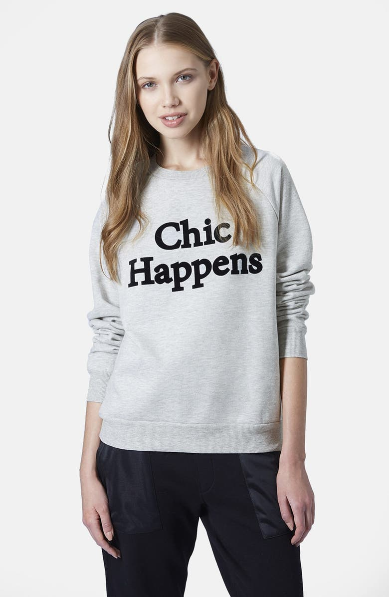 TOPSHOP 'Chic Happens' Raglan Sleeve Sweatshirt, Main, color, 050