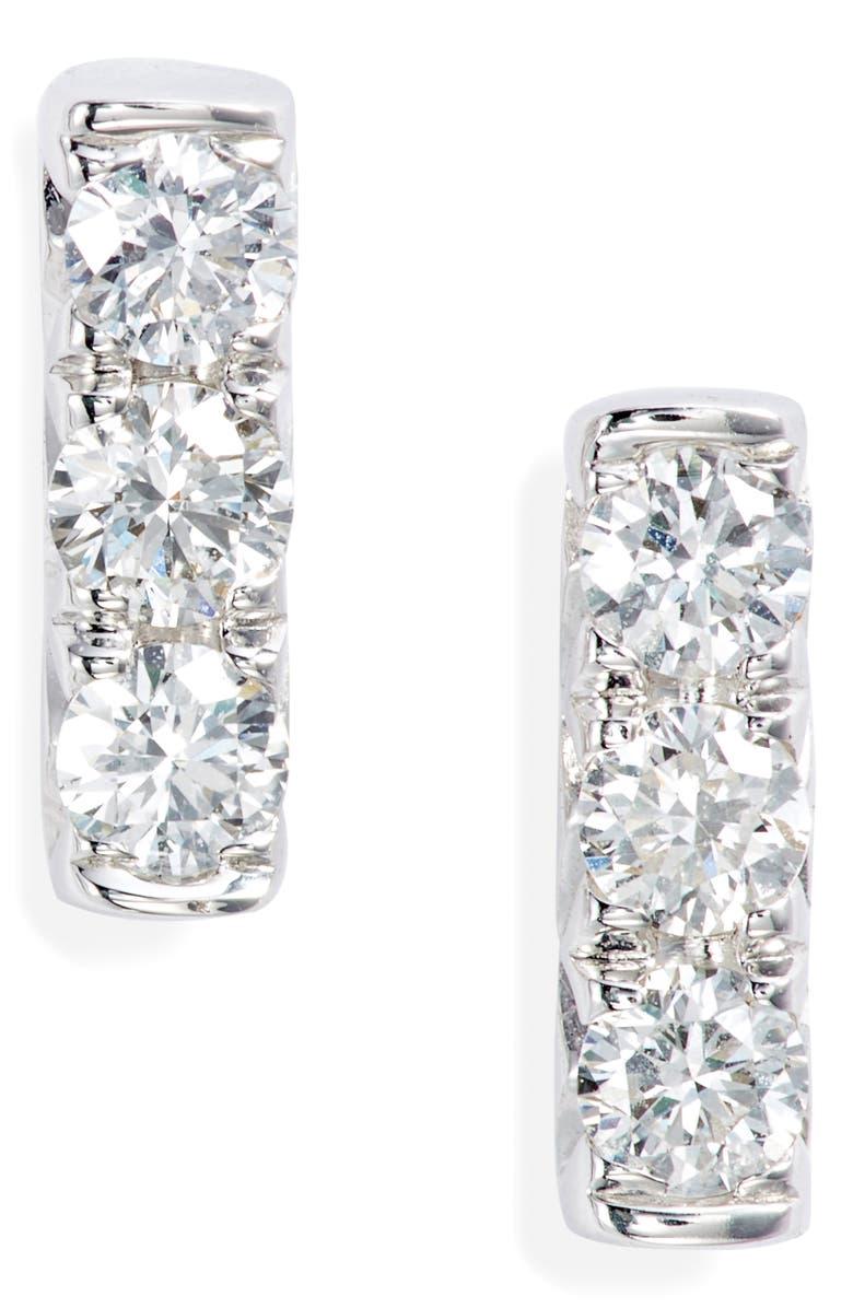 BONY LEVY Diamond Bar Stud Earrings, Main, color, WHITE GOLD/ DIAMOND