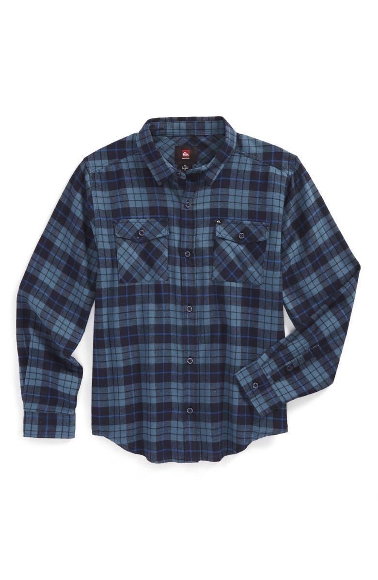 QUIKSILVER Flannel Plaid Shirt, Main, color, BLUE STONE