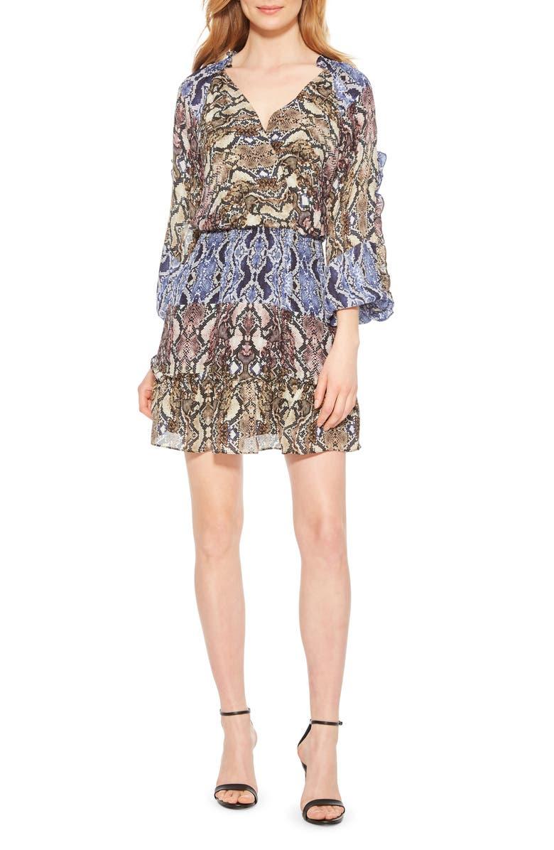PARKER Gladis Python Print Silk Georgette Minidress, Main, color, PYTHON MULTI