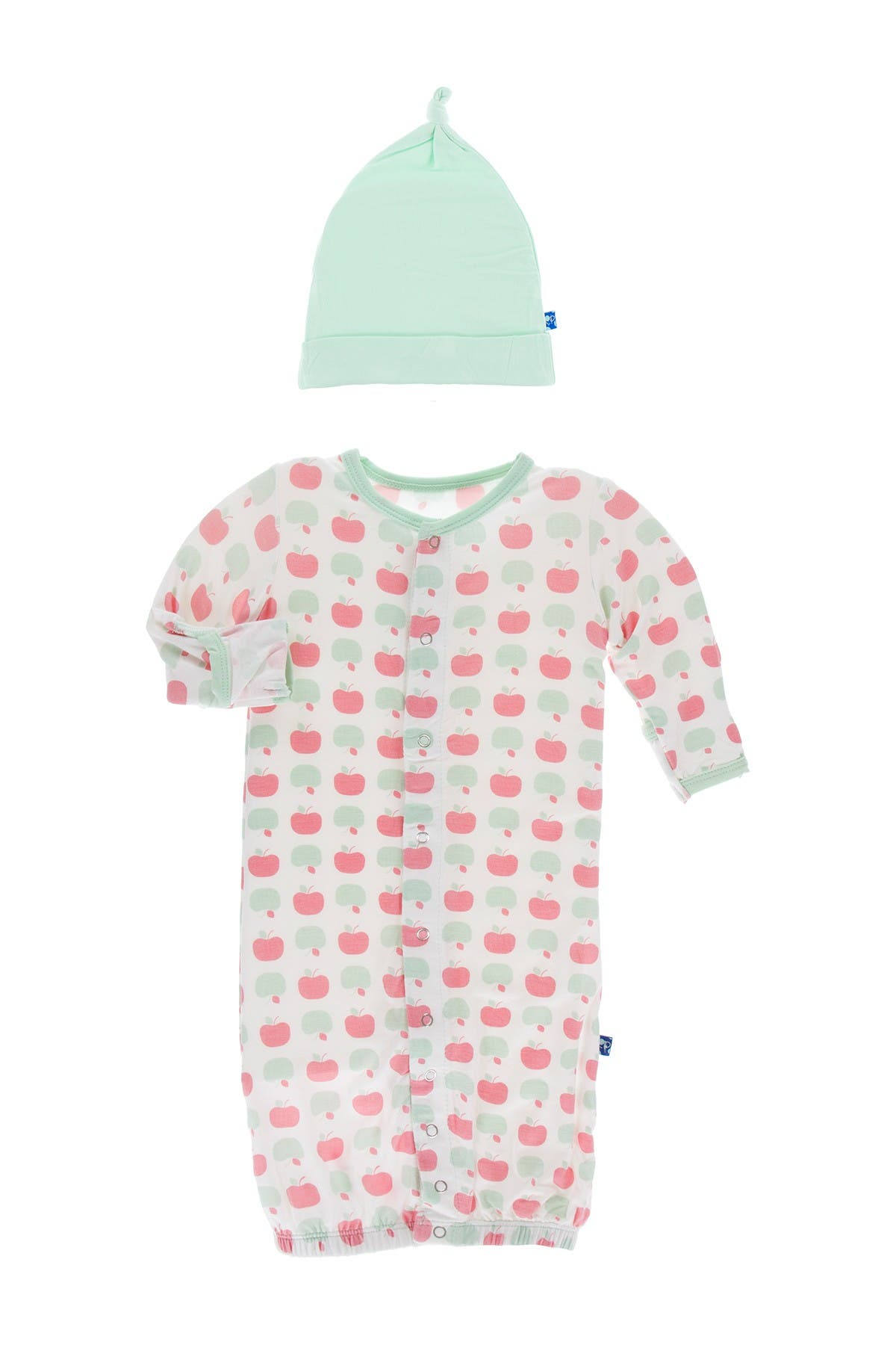 Image of KicKee Pants Print Layette Gown Converter & Knot Hat Set in Natural Apples