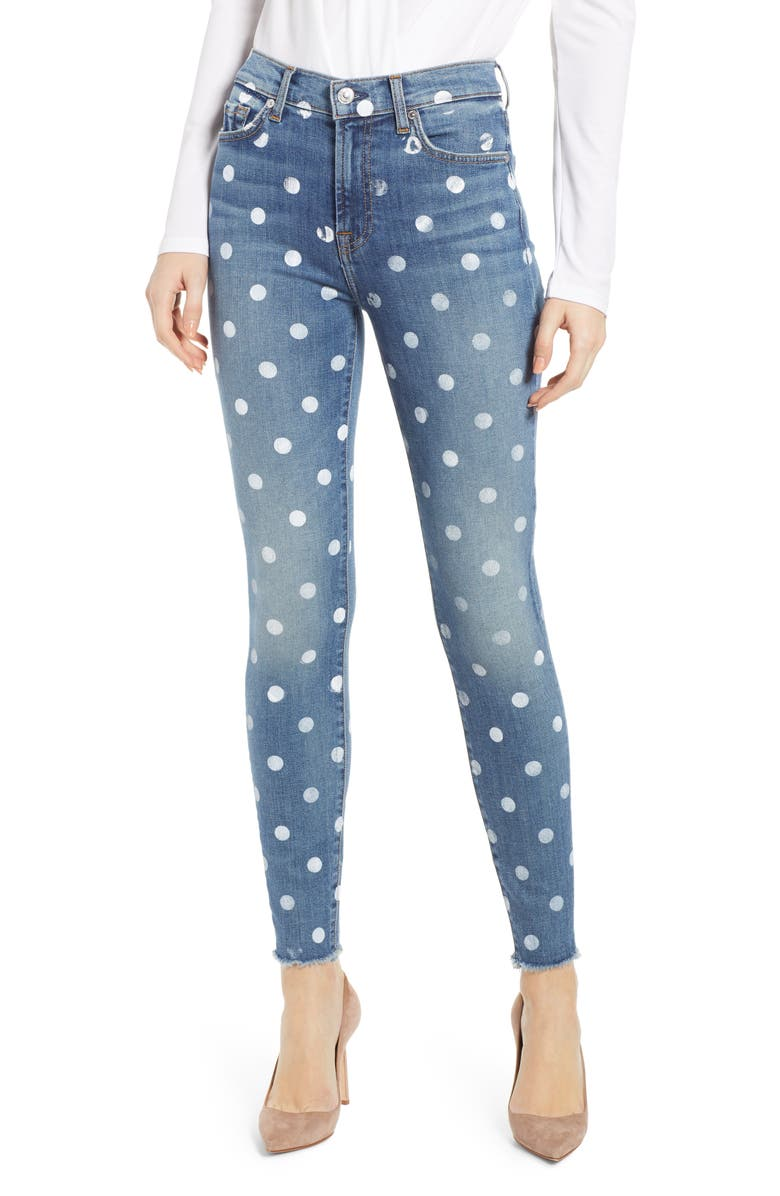 7 FOR ALL MANKIND<SUP>®</SUP> Polka Dot High Waist Ankle Skinny Jeans, Main, color, 400