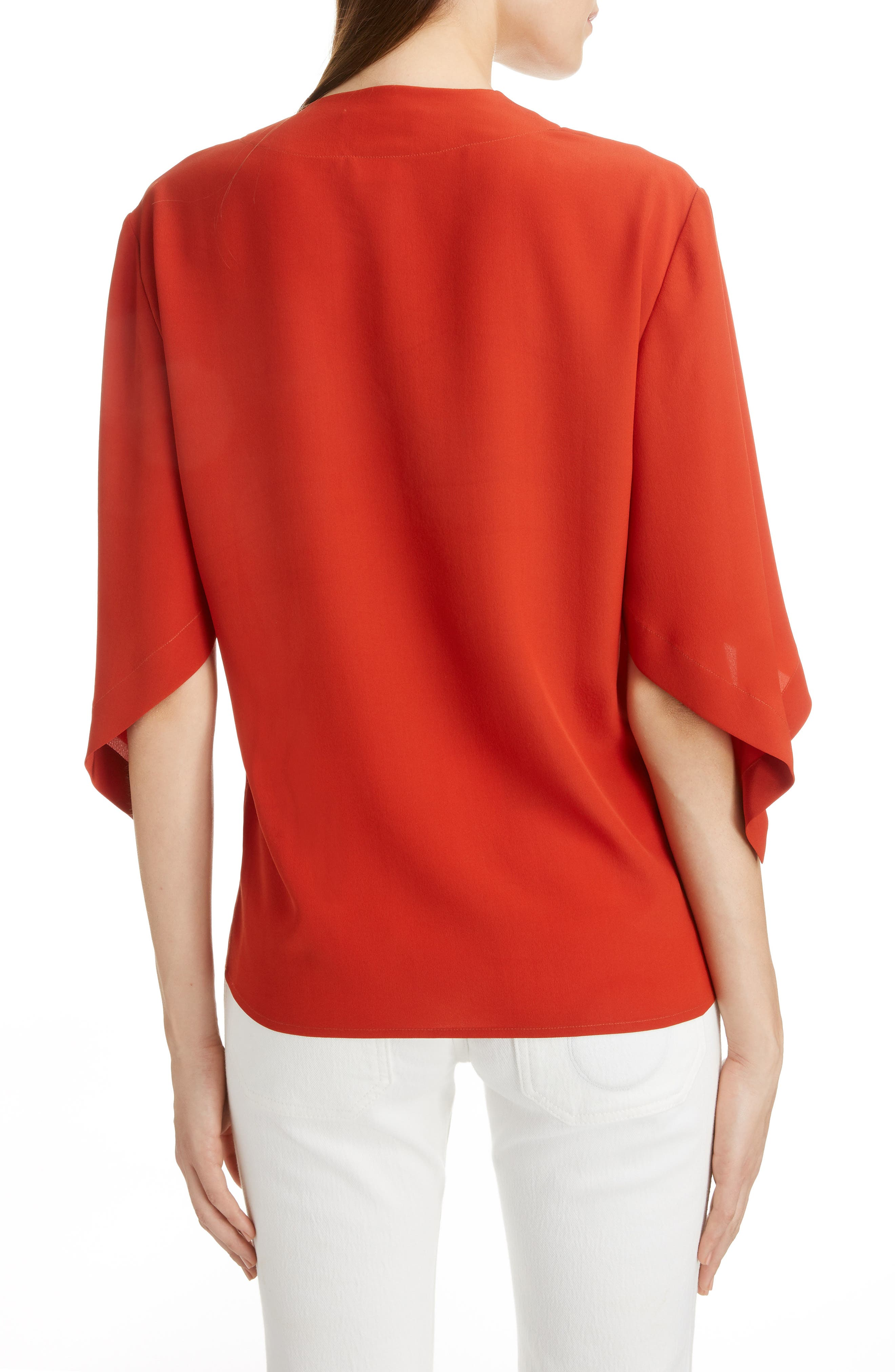,                             Split Neck Silk Blouse,                             Alternate thumbnail 2, color,                             843-ROOIBOS ORANGE