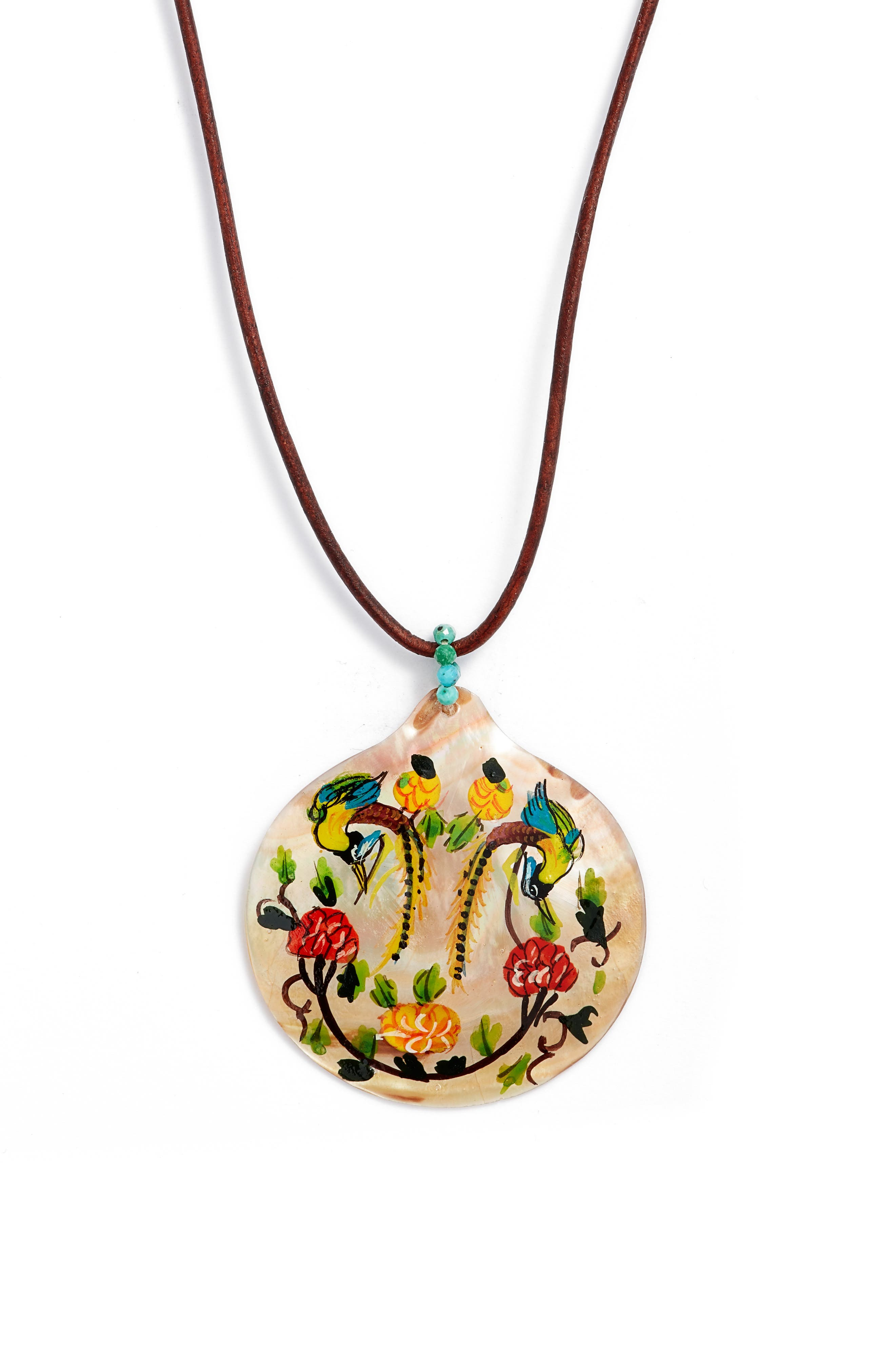 Painted Mother-Of-Pearl Pendant Necklace